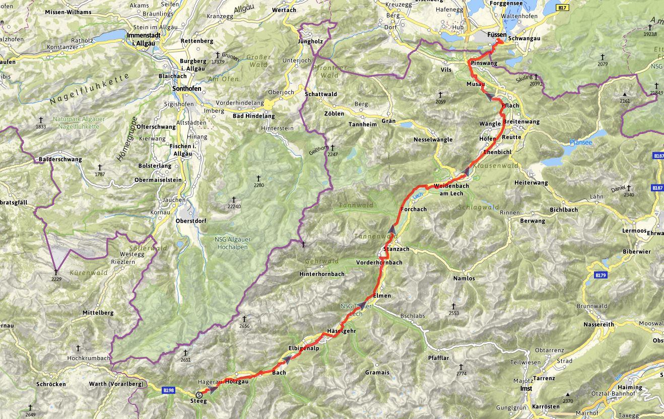 Lechweg Karte.Tiroler Lech Radweg