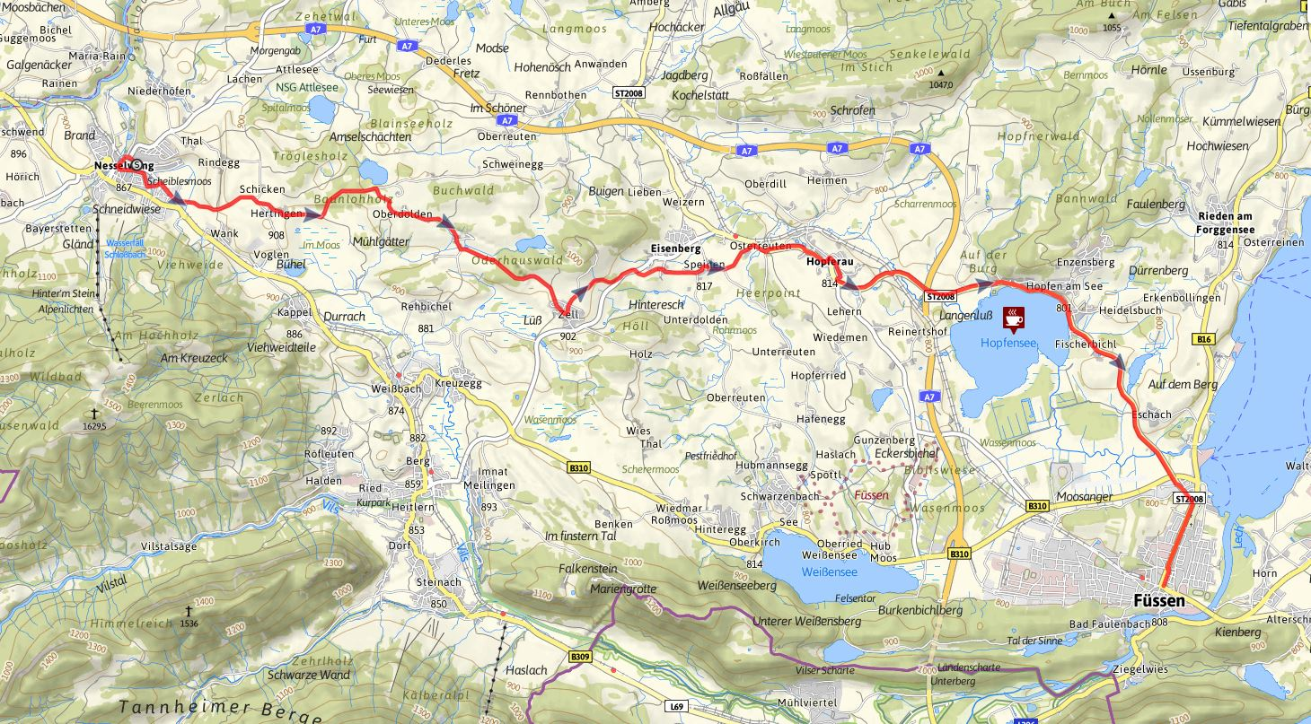 Bodensee Konigssee Radweg Etappe Nesselwang Fussen
