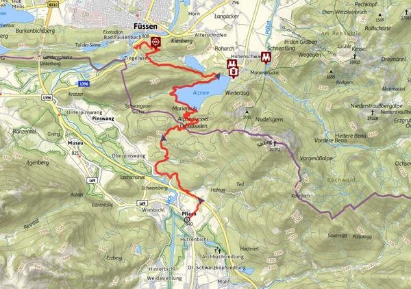 Lechweg Karte.Lechweg Etappe Pflach Hohenschwangau Füssen