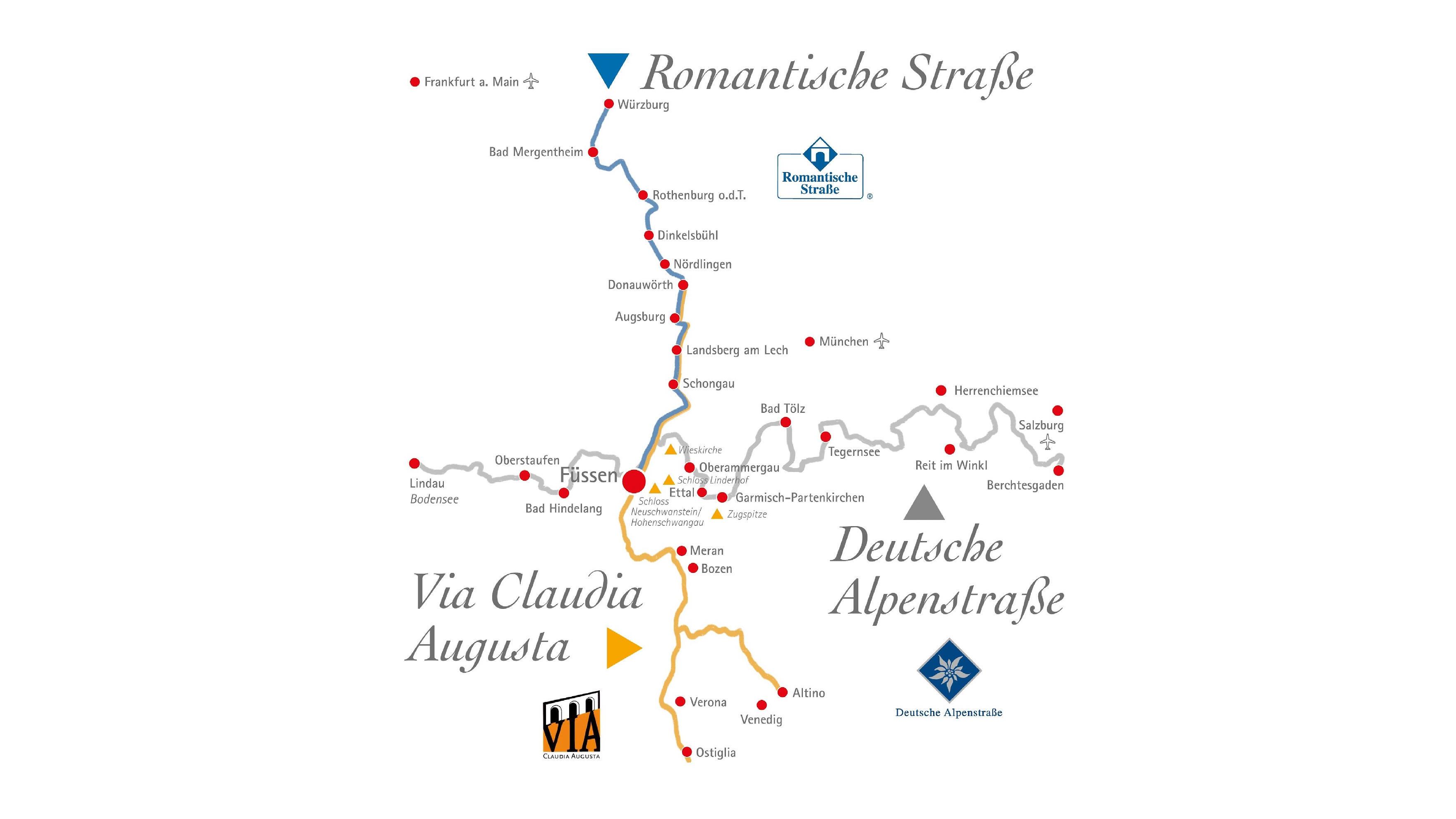 Romantische Straße Karte.Ferienstraßen In Füssen