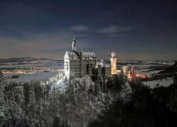 Schloß Neuschwanstein bei Nacht
