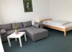 Wohnzimmer mit TV und Bett