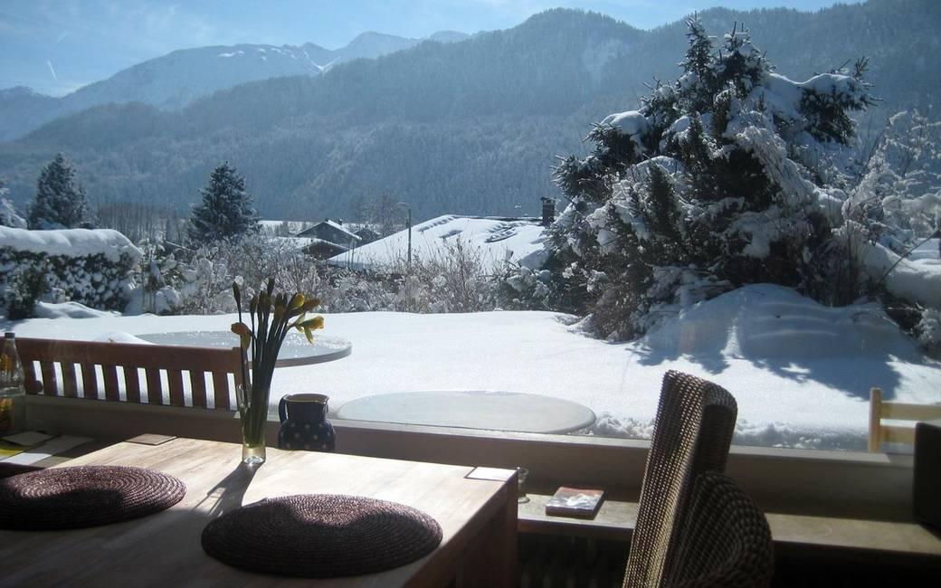 Blick vom Esstisch im Winter