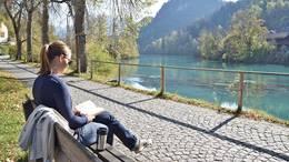Herbst am Lechufer in Füssen im Allgäu